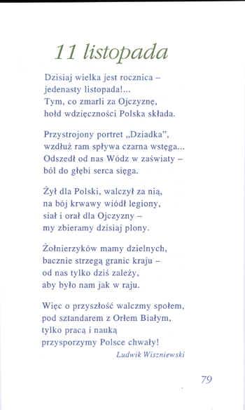 11 Listopada Wiersz Ludwika Wiszniewskiego W Podręczniku