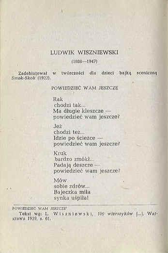 Powiedzieć Wam Jeszcze Wiersz Ludwika Wiszniewskiego